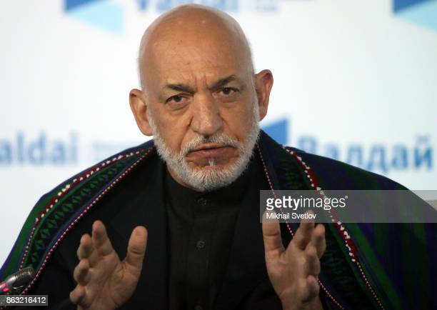 Former Afghan President Hamid Karzai speaks at a meeting with Valdai Discussion Club members on October 2017 in Sochi Russia