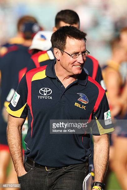 Former AFL coach John Worsfold looks on during the NAB Challenge AFL match between the Port Adelaide Power and the Adelaide Crows at AAMI Stadium on...
