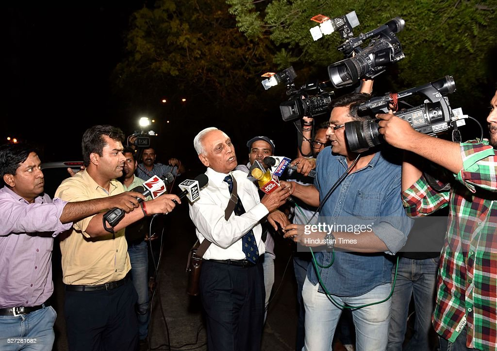 Former Air Chief Marshal SP Tyagi departing from the CBI headquarters on in connection with alleged AgustaWestland choppers deal Scam on May 2, 2016 in New Delhi, India. India signed a contract to purchase 12 AgustaWestland AW101 helicopters for Rs. 3,600 crores in February 2010 for the Communication Squadron of Indian Air Force, to carry the president, PM and other VVIPs. The deal was scrapped in 2013 after the arrest of Giuseppe Orsi, CEO of Finmeccanica parent company of AgustaWestland on charges of Bribing Indian officials for the deal.
