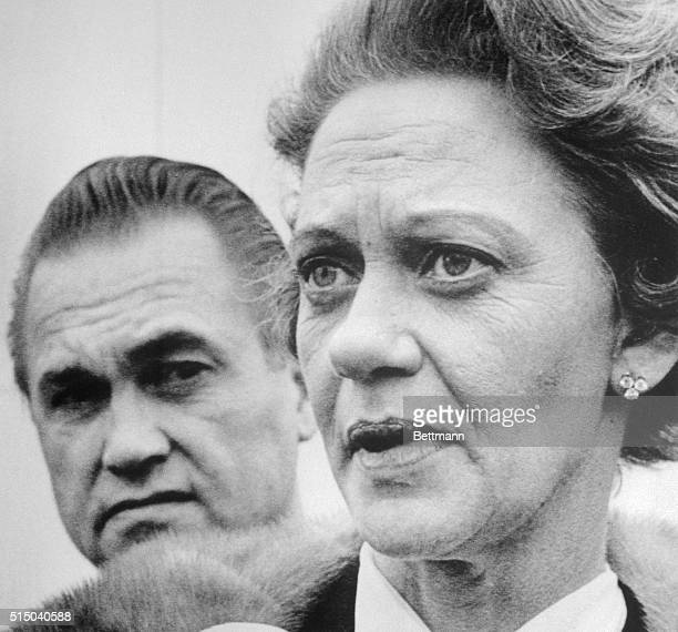Former Alabama Governor George Wallace wears a worried expression as he and his wife and successor Lurleen arrive 1/8 at the MD Anderson Hospital...