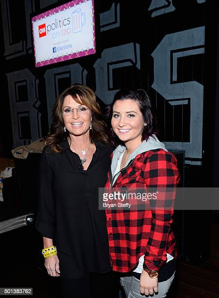 Former Alaska Gov Sarah Palin and her daughter Willow Palin attend CNN Politics On Tap at Double Barrel Roadhouse at the Monte Carlo Resort and...