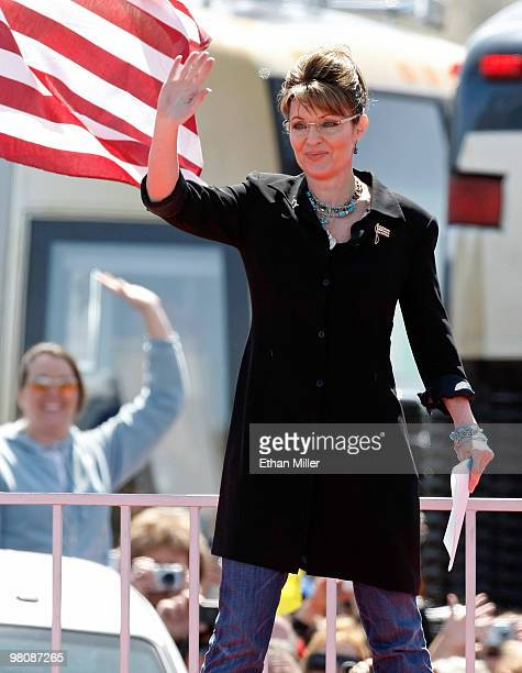 Former Alaska Gov Sarah Palin appears at the Tea Party Express' 'Showdown in Searchlight' rally March 27 2010 in Searchlight Nevada The rally held in...