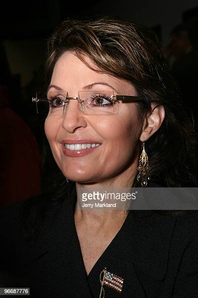Former Alaska Gov Sarah Palin attends the NASCAR Sprint Cup Series Daytona 500 at Daytona International Speedway on February 14 2010 in Daytona Beach...
