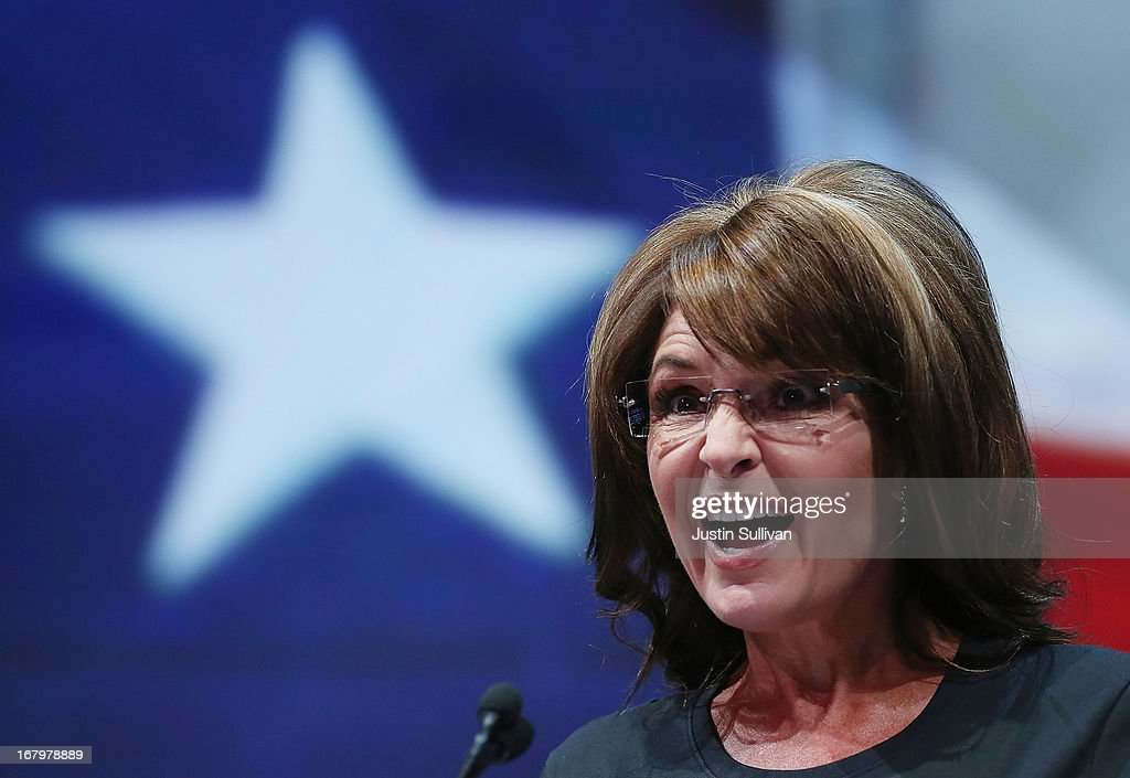 Former Alaska Gov. <a gi-track='captionPersonalityLinkClicked' href=/galleries/search?phrase=Sarah+Palin&family=editorial&specificpeople=4170348 ng-click='$event.stopPropagation()'>Sarah Palin</a> speaks during the 2013 NRA Annual Meeting and Exhibits at the George R. Brown Convention Center on May 3, 2013 in Houston, Texas. More than 70,000 peope are expected to attend the NRA's 3-day annual meeting that features nearly 550 exhibitors, gun trade show and a political rally. The Show runs from May 3-5.