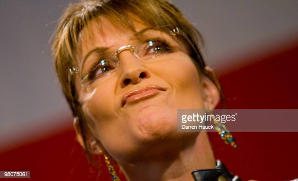 Former Alaska Gov Sarah Palin speaks to the crowd during a campaign rally for Sen John McCain at Pima County Fairgrounds on March 26 2010 in Tucson...