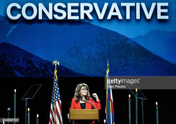 Former Alaska Governor and 2008 Republican Party nominee for Vice President Sarah Palin speaks at the 2016 Western Conservative Summit at the...