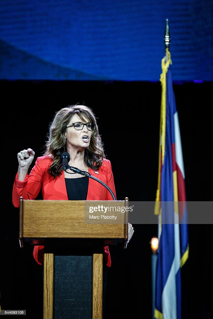 Former Alaska Governor and 2008 Republican Party nominee for Vice President <a gi-track='captionPersonalityLinkClicked' href=/galleries/search?phrase=Sarah+Palin&family=editorial&specificpeople=4170348 ng-click='$event.stopPropagation()'>Sarah Palin</a> speaks at the 2016 Western Conservative Summit at the Colorado Convention Center on July 1, 2016 in Denver, Colorado. The Summit, being held July 1-3, is expected to attract more than 4,000 attendees.