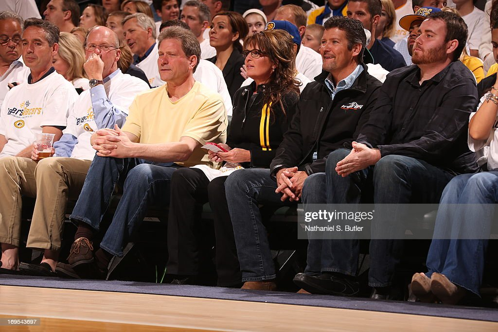 Former Alaska governor and Republican Vice Presidential nominee Sarah Palin and her husband Todd Palin Sits Courtside in Game Three of the Eastern Conference Finals during the 2013 NBA Playoffs on May 26, 2013 at Bankers Life Fieldhouse in Indianapolis, Indiana.