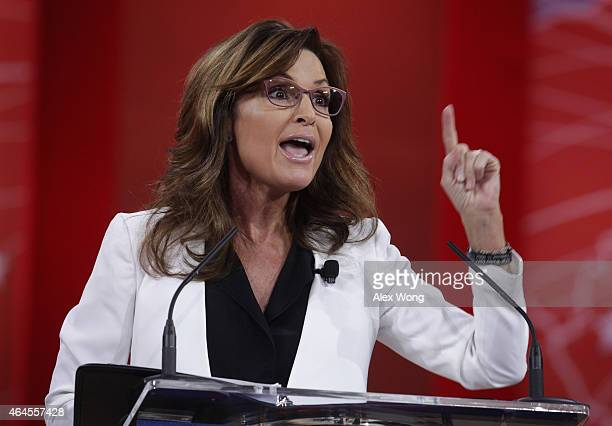 Former Alaska Governor Sarah Palin addresses the 42nd annual Conservative Political Action Conference February 26 2015 in National Harbor Maryland...