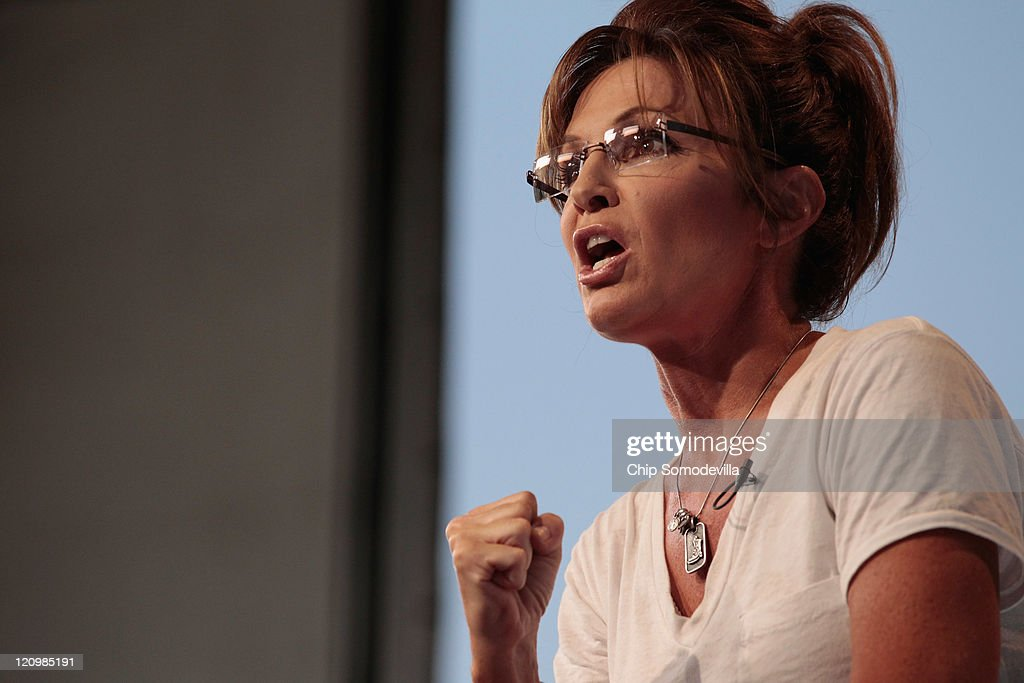 Former Alaska Governor <a gi-track='captionPersonalityLinkClicked' href=/galleries/search?phrase=Sarah+Palin&family=editorial&specificpeople=4170348 ng-click='$event.stopPropagation()'>Sarah Palin</a> appears on the Sean Hannity Show during the Iowa State Fair August 12, 2011 in Des Moines, Iowa. Although Palin has not announced any intention of running for president, she joined most of the declared Republican presidential hopefuls who are visiting the fair ahead of tomorrow's Iowa Straw Poll to greet voters and engage in the traditional Iowa campaigning ritual.
