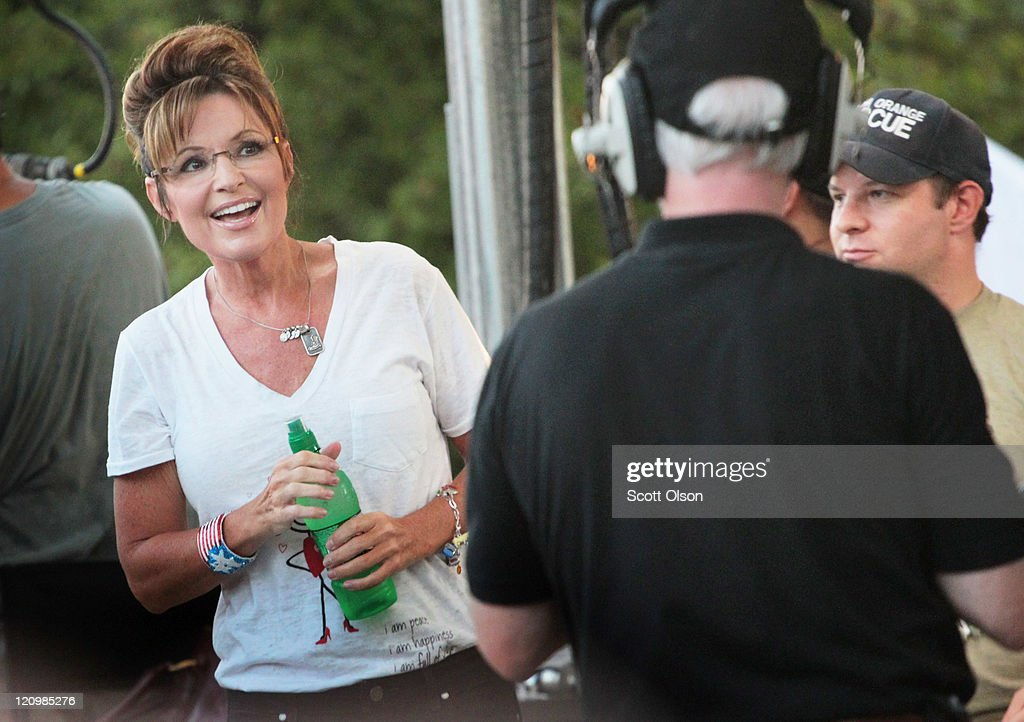 Former Alaska Governor Sarah Palin arrives for an interview on the Sean Hannity Show during the Iowa State Fair August 12, 2011 in Des Moines, Iowa. Although Palin has not announced any intention of running for president, she joined most of the declared Republican presidential hopefuls who are visiting the fair ahead of tomorrow's Iowa Straw Poll to greet voters and engage in the traditional Iowa campaigning ritual.