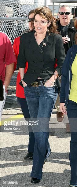 Former Alaska Governor Sarah Palin attends the Daytona 500 Daytona International Speedway on February 14 2010 in Daytona Beach Florida