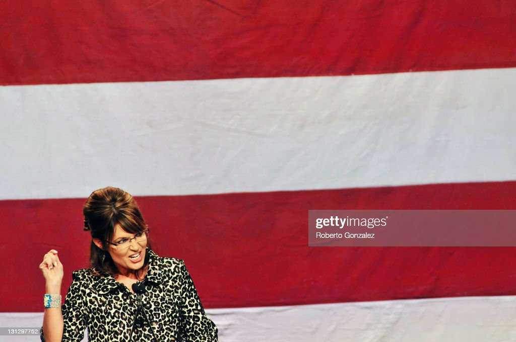 Former Alaska governor <a gi-track='captionPersonalityLinkClicked' href=/galleries/search?phrase=Sarah+Palin&family=editorial&specificpeople=4170348 ng-click='$event.stopPropagation()'>Sarah Palin</a> speaks during the Republican Party of Florida's fundraising event at Disney's Grand Floridian Resort on November 3, 2011 in Lake Buena Vista, Florida. About 800 people attended the fundraiser to listen to Palin speak, along with Governor Rick Scott and the Attorney General Pam Bondi.