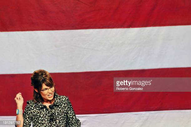 Former Alaska governor Sarah Palin speaks during the Republican Party of Florida's fundraising event at Disney's Grand Floridian Resort on November 3...