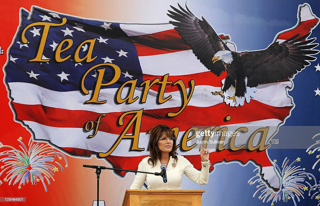 Former Alaska governor <a gi-track='captionPersonalityLinkClicked' href=/galleries/search?phrase=Sarah+Palin&family=editorial&specificpeople=4170348 ng-click='$event.stopPropagation()'>Sarah Palin</a> speaks during the Tea Party of America's 'Restoring America' event at the Indianola Balloon Festival Grounds on September 3, 2011 in Indianola, Iowa. Former Alaska governor <a gi-track='captionPersonalityLinkClicked' href=/galleries/search?phrase=Sarah+Palin&family=editorial&specificpeople=4170348 ng-click='$event.stopPropagation()'>Sarah Palin</a> headlined the Tea Party of America's 'Restoring America' event.