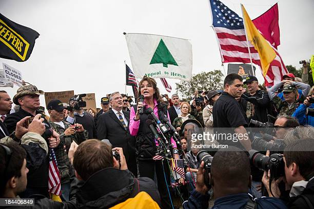 Former Alaskan Governor Sarah Palin speaks at a rally supported by military veterans Tea Party activists and Republicans regarding the government...