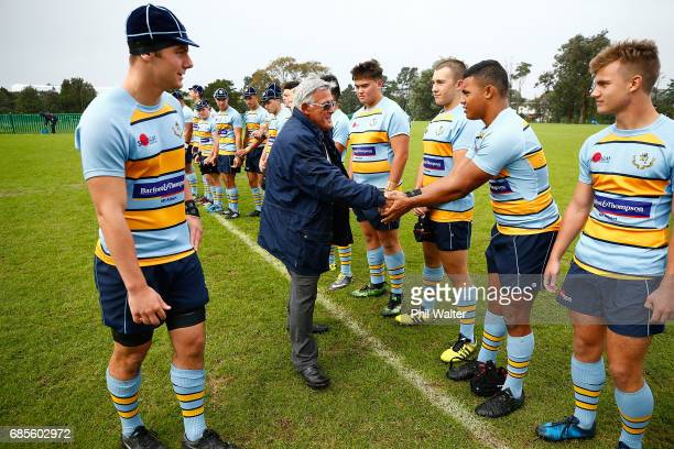 Former All Black Bryan Williams meets the players before the teams before the schoolboy First XV rugby match between Mt Albert Grammar and Auckland...