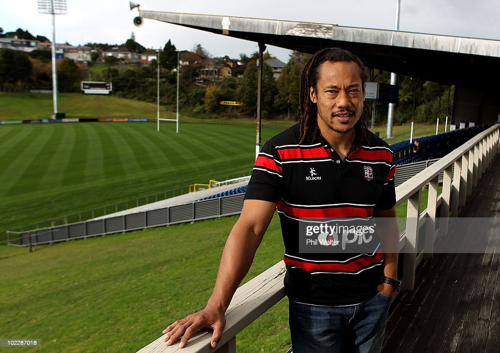 Former All Black captain <a gi-track='captionPersonalityLinkClicked' href=/galleries/search?phrase=Tana+Umaga&family=editorial&specificpeople=203218 ng-click='$event.stopPropagation()'>Tana Umaga</a> poses following his first press conference as the new Counties Manukau player and assistant coach at Bayer Growers Stadium at Pukekohe on June 22, 2010 in Auckland, New Zealand.