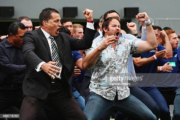 Former All Blacks Dallas Seymour and Josh Kronfeld perform a haka at the Public Memorial for Jonah Lomu at Eden Park on November 30 2015 in Auckland...