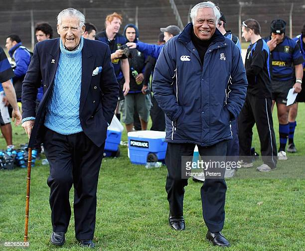 Former AllBlacks Fred Allen and Waka Nathan walk off the field after the Waka Nathan Cup Final match between Ponsonby and Marist at Western Springs...