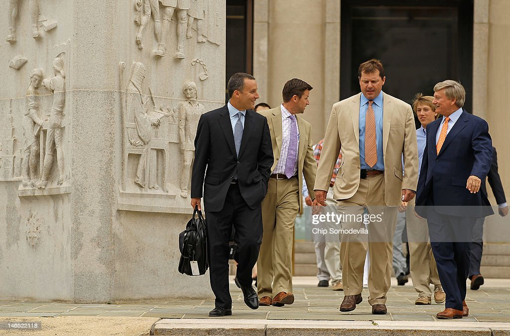 Former all-star baseball pitcher Roger Clemens (C) and his legal team, including attorneys Rusty Hardin (R) and Michael Attanasio (L), leave the Prettyman U.S. Court House after Clemens was found not guilty on 13 counts of perjury and obstruction June 18, 2012 in Washington, DC. The former Boston Red Sox and New York Yankees pitcher's original trial in 2011 was declared a mistrial after the judge said the prosecution presented inadmissible testimony that prejudiced the jury. A seven-time Cy Young Award winner, Clemens was on trial for making false statements, perjury and obstructing Congress when he testified about steroid use during a February 2008 inquiry by the House Oversight and Government Affairs.