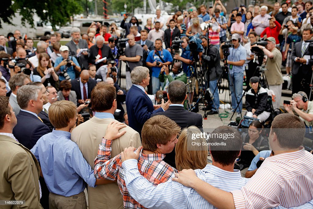 Former all-star baseball pitcher Roger Clemens (3rd L) is surrounded by his family as his attornies talk to the news media after Clemens was found not guilty on 13 counts of perjury and obstruction outside the Prettyman U.S. Court House June 18, 2012 in Washington, DC. The former Boston Red Sox and New York Yankees pitcher's original trial in 2011 was declared a mistrial after the judge said the prosecution presented inadmissible testimony that prejudiced the jury. A seven-time Cy Young Award winner, Clemens is on trial for making false statements, perjury and obstructing Congress when he testified about steroid use during a February 2008 inquiry by the House Oversight and Government Affairs.