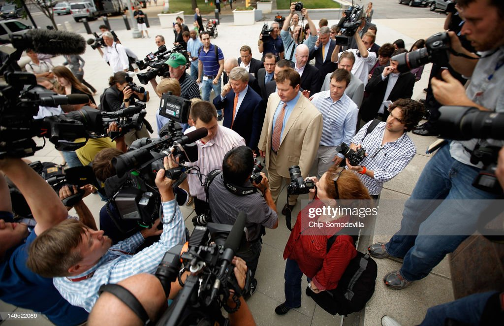 Former all-star baseball pitcher Roger Clemens (C) is surrounded by his family and members of the news media after he was found not guilty on 13 counts of perjury and obstruction outside the Prettyman U.S. Court House June 18, 2012 in Washington, DC. The former Boston Red Sox and New York Yankees pitcher's original trial in 2011 was declared a mistrial after the judge said the prosecution presented inadmissible testimony that prejudiced the jury. A seven-time Cy Young Award winner, Clemens is on trial for making false statements, perjury and obstructing Congress when he testified about steroid use during a February 2008 inquiry by the House Oversight and Government Affairs.
