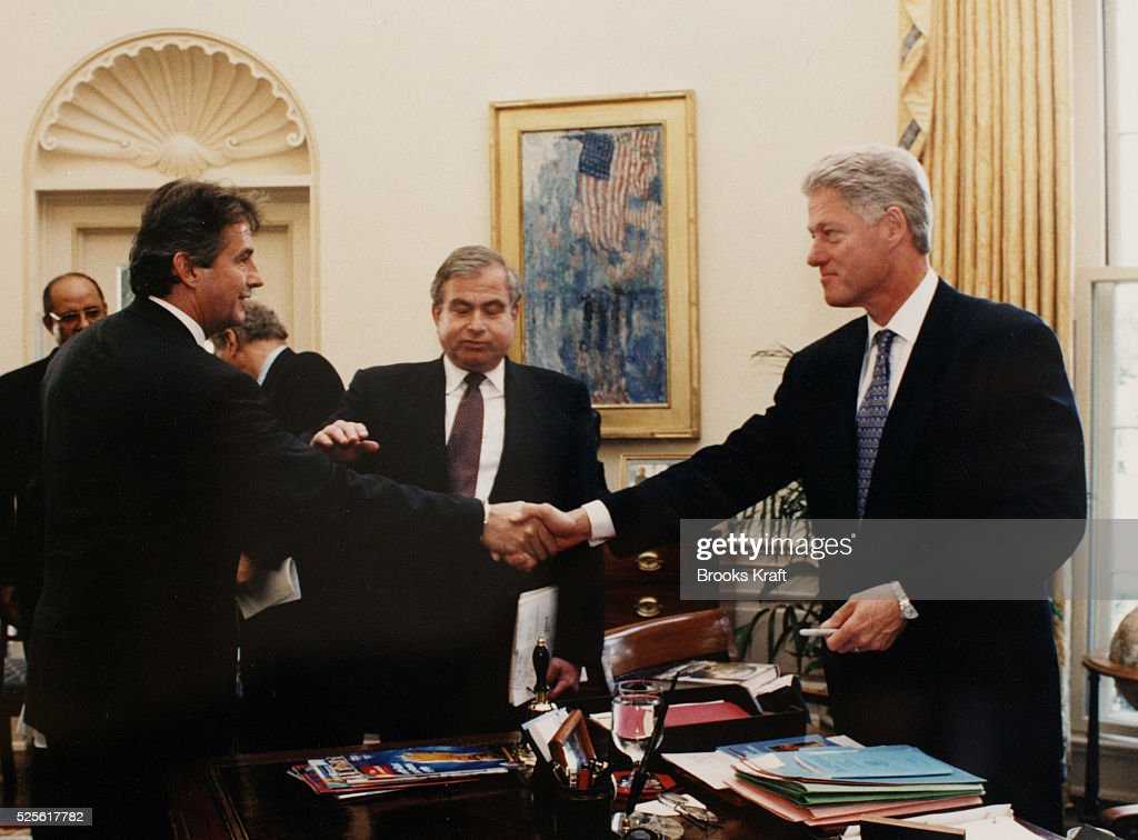 Former ambassador Joseph C Wilson IV meets with President Clinton at the White House