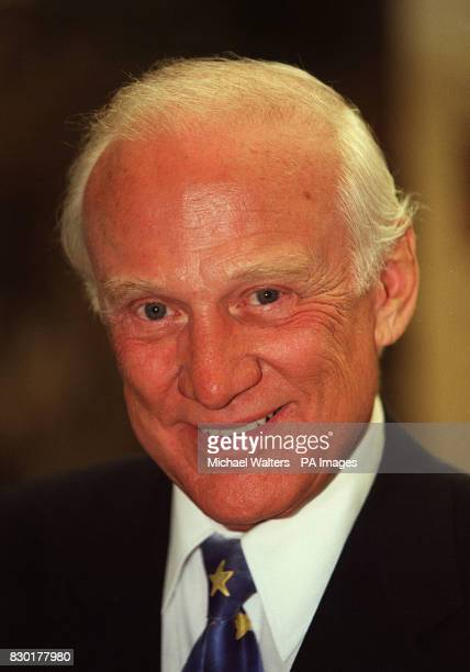Former american astronaut Buzz Aldrin at the Business Design Centre in Islington London where he opened the annual TiLE conference and trade...