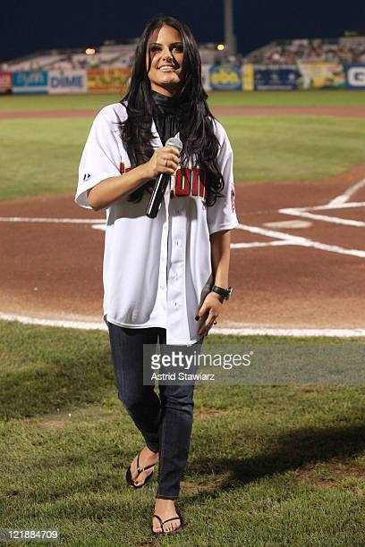 Former American Idol contestant Pia Toscano attends the Brooklyn Cyclones vs the TriCity Valley Cats of Troy game at MCU Park on August 22 2011 in...