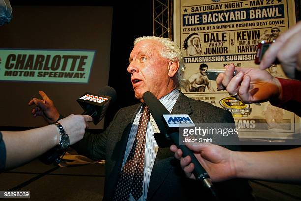 Former American Professional Wrestler Ric Flair speaks with the media during the NASCAR Sprint Media Tour hosted by Charlotte Motor Speedway held at...
