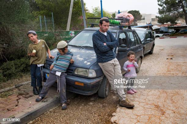 A former Amona israeli settler and children who are now staying at a hostel in Ofra West Bank on April 9 2017 After the Israeli Supreme court ruled...