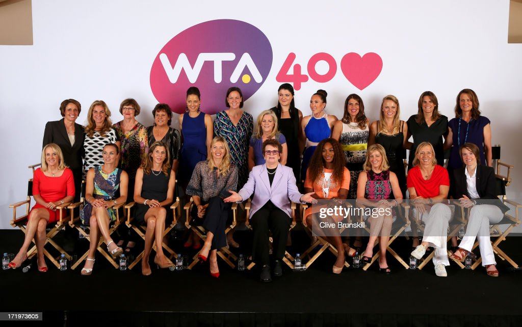 Former and current World Number One (L-R back row) Mary Carillo, Arantxa Sanchez-Vicario, Margaret Court, Evonne Goolagong-Cawley, Ana Ivanovic, Lindsay Davenport, Chairman and CEO of the Women's Tennis Association Stacey Allaster, Dinara Safina, Jelena Jankovic, Jennifer Capriati, Caroline Wozniacki, Amelie Mauresmo and Pam Shriver (L-R front row) Tracey Austin, Martina Hingis, Monica Seles, Maria Sharapova, Billie Jean King, Serena Williams, Chris Evert, Martina Navratilova and Justine Henin pose on stage during the WTA 40 Love Celebration on Middle Sunday of the Wimbledon Lawn Tennis Championships at the All England Lawn Tennis and Croquet Club on June 30, 2013 in London, England.
