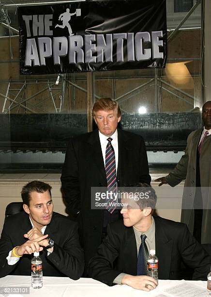 Former 'Apprentice' winners Bill Rancic and Kelly Perdew help Donald Trump recruit for NBC's new 'Apprentice' on February 4 2005 New York City