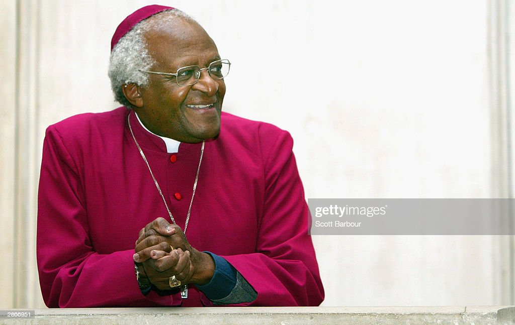 Former Archbishop of Cape Town, Desmond Tutu takes up his position as Visiting Professor in Post Conflict Societies at Kings College London, January 14, 2004 at the university's campus in central London, England. Tutu's role at King's College London coincides with the 175th Anniversary of the College.