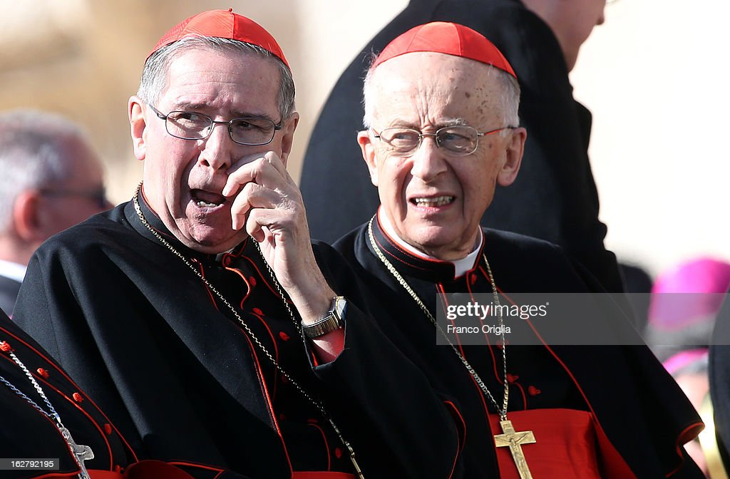 Former archbishop of Los Angeles cardinal <a gi-track='captionPersonalityLinkClicked' href=/galleries/search?phrase=Roger+Mahony&family=editorial&specificpeople=664416 ng-click='$event.stopPropagation()'>Roger Mahony</a> (L) and cardinal Camillo Ruini attend the Pope Benedict XVI's final general audience in St. Peter's Square on February 27, 2013 in Vatican City, Vatican. The Pontiff attended his last weekly public audience before stepping down tomorrow. Pope Benedict XVI has been the leader of the Catholic Church for eight years and is the first Pope to retire since 1415. He cites ailing health as his reason for retirement and will spend the rest of his life in solitude away from public engagements.