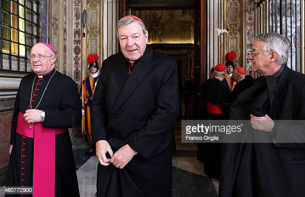 Former Archbishop of Sydney Cardinal George Pell arrives at the Clementina Hall to exchange Christmas greetings with Pope Francis on December 22 2014...