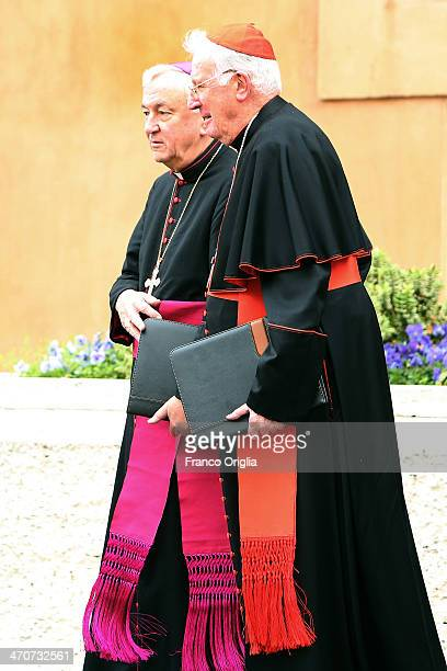 Former Archbishop of Westminster Cardinal Cormack Murphy O'Connor and archbishop of Westminster and Cardinal Designate Vincent Nichols leave the Paul...