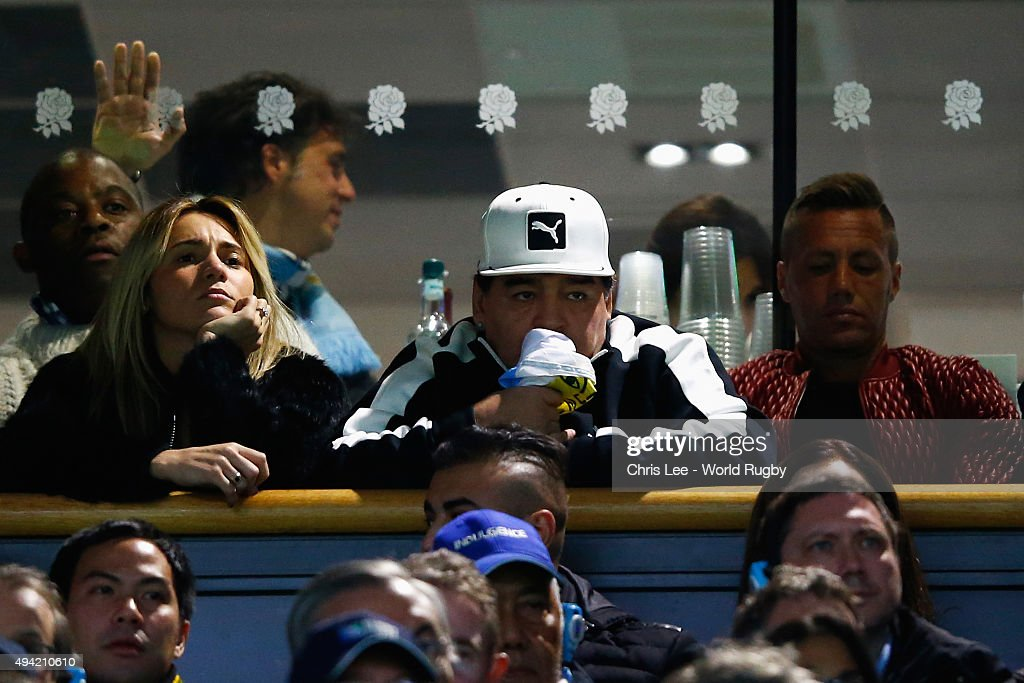 Former Argentina football player, Diego Maradona looks on during the 2015 Rugby World Cup Semi Final match between Argentina and Australia at Twickenham Stadium on October 25, 2015 in London, United Kingdom.