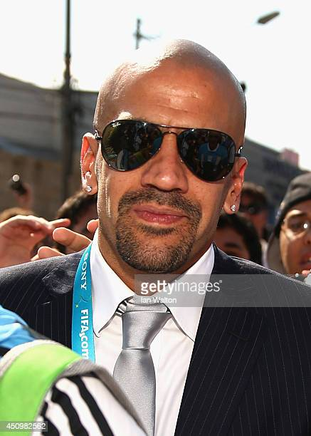 Former Argentinan international Juan Sebastian Veron arrives ahead of the 2014 FIFA World Cup Brazil Group F match between Argentina and Iran at...