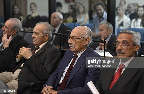 Former Argentine dictator and general Rafael Videla and other defendants are seen during their trials to investigate the crimes committed during the...