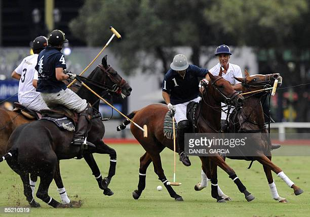 Former Argentine football striker Gabriel Batistuta takes part in a polo match between Loro Piana team and Chapelco in Buenos Aires on March 3 2009...