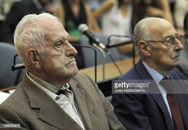 Former Argentine general and last dictator Reynaldo Bignone and former Argentine general and dictator Jorge Rafael Videla attend the beginning of...