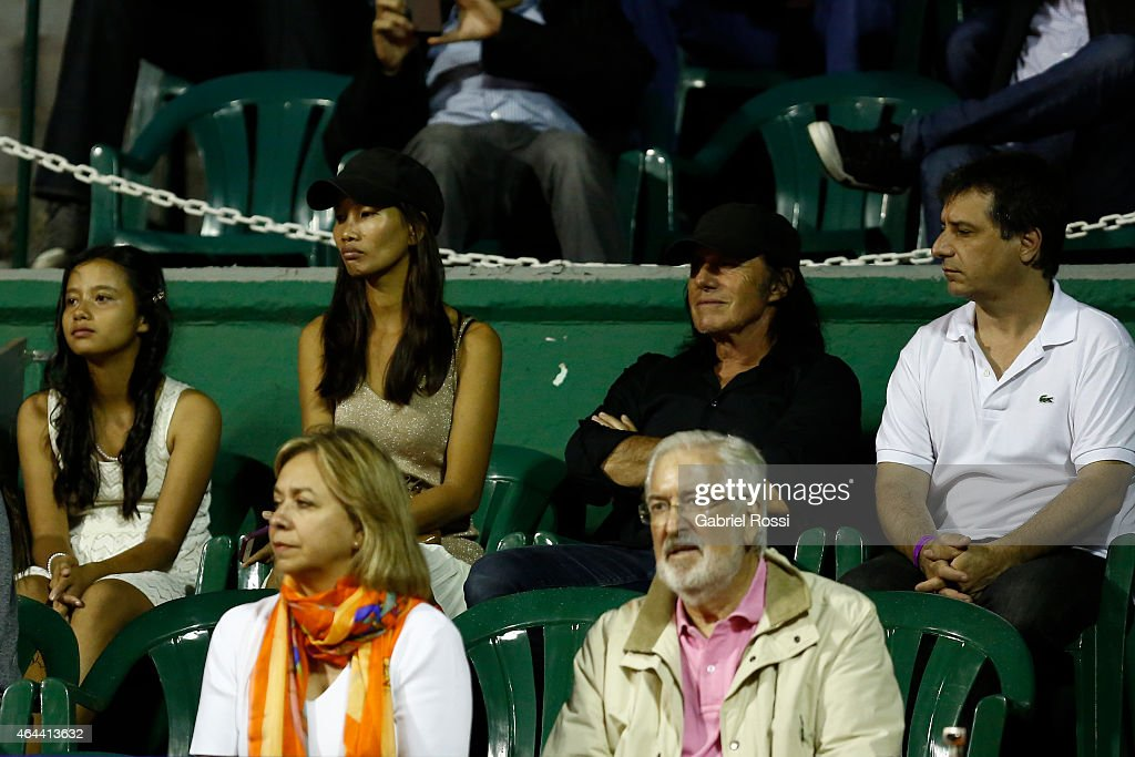 Former Argentine player <a gi-track='captionPersonalityLinkClicked' href=/galleries/search?phrase=Guillermo+Vilas&family=editorial&specificpeople=605489 ng-click='$event.stopPropagation()'>Guillermo Vilas</a> and his wife Phiang Phatou in the tribune during a singles match between Rafael Nadal of Spain and Fecund Arguello of Argentina as part of ATP 250 Argentina Open at Buenos Aires Lawn Tennis Club on February 25, 2015 in Buenos Aires, Argentina.