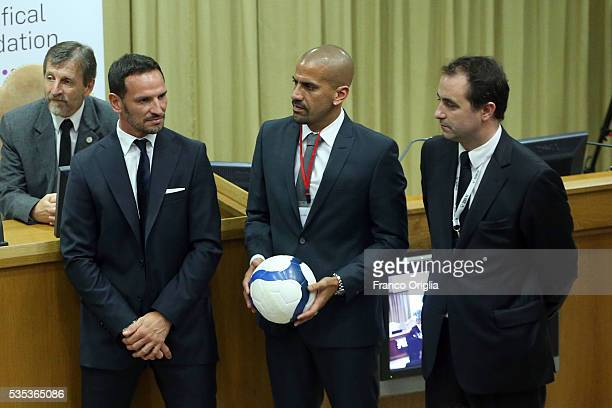 Former Argentinian football players Juan Sebastian Veron and Abel Balbo attend 'Un Muro o Un Ponte' Seminary held by Pope Francis at the Paul VI Hall...