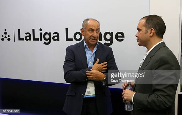 Former Argentinian footballer Ossie Ardiles chats to Prince Ali Bin Al Hussein President of the Jordan FA during day three of the Soccerex Global...
