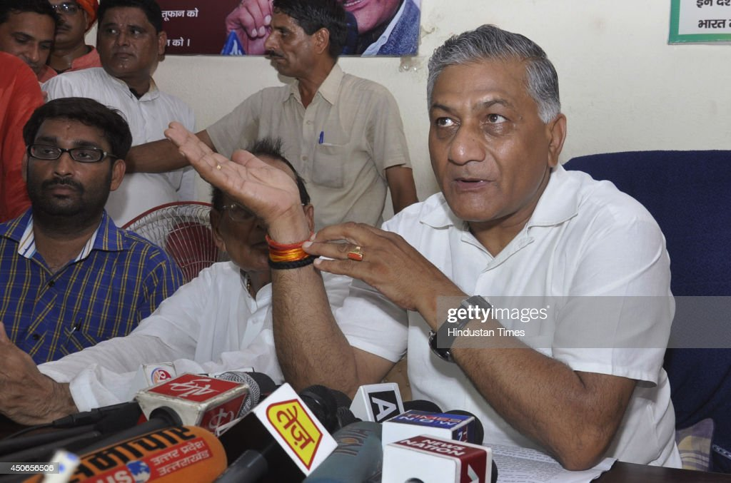 Former Army Chief and Ghaziabad MP VK Singh addresses a press conference on the development related issues of his constituency of widening of NH 24 & NH 58 are taken up with concerned ministry, on June 15, 2014 in Ghaziabad, India. He also told steps for integrated development of his constituency.