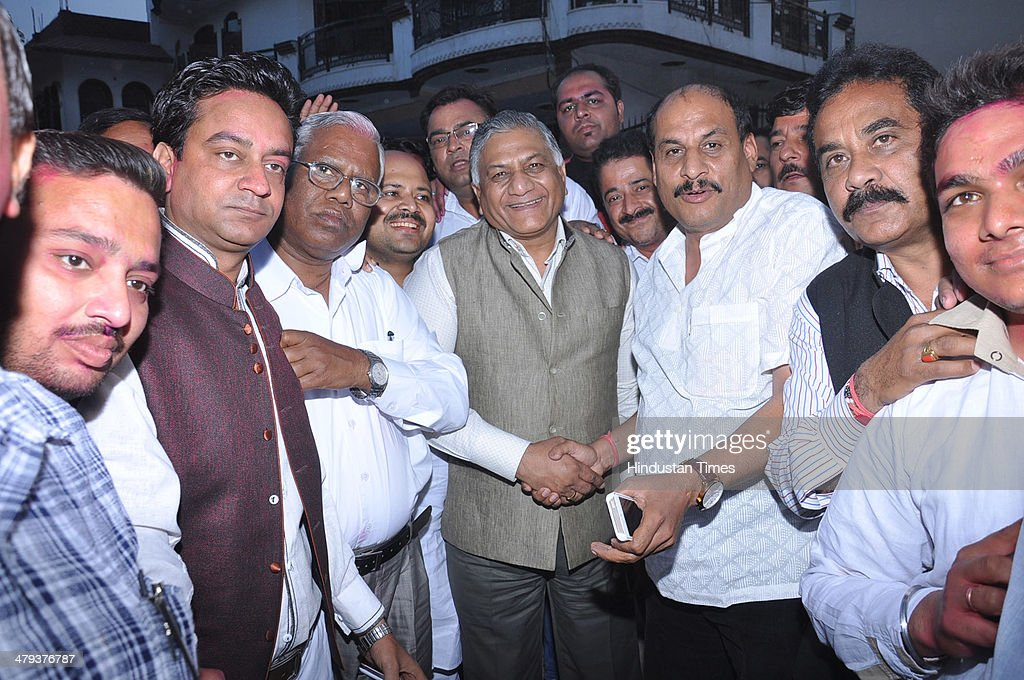 Former Army Chief VK Singh meeting with people on March 17 2014 in Ghaziabad India He is expected to fielded as BJP candidate from Ghaziabad against...