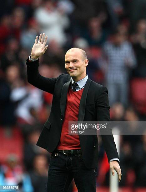 Former Arsenal player Freddie Ljungberg greets the fans during the Barclays Premier League match between Arsenal and Stoke City at the Emirates...