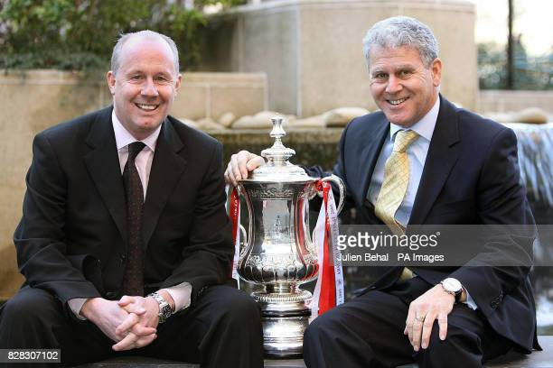 Former Arsenal player Liam Brady and Managing Director Keith Edelman pose with the FA Cup at the Conrad Hotel Dublin Wednesday January 25 2006 Irish...